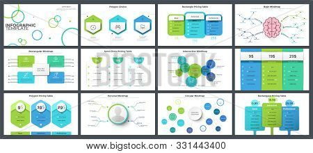 Set Of Flat And Realistic Infographic Design Templates - Diagrams, Charts, Pricing Or Subscription P