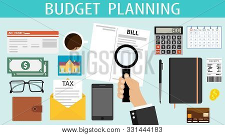 Budget Planning. A Person Plans His Financial Expenses For A Month. The Concept Of Budget Planning T