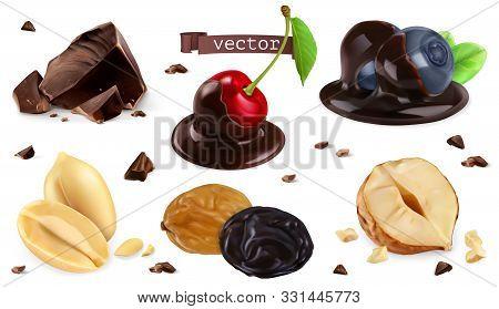Berries, Nuts And Chocolate. Blueberry, Cherry, Peanut, Hazel, Raisin, 3d Vector Set