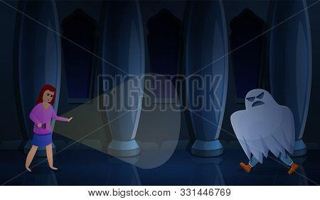 Ghost Escape Room Concept Banner. Cartoon Illustration Of Ghost Escape Room Vector Concept Banner Fo