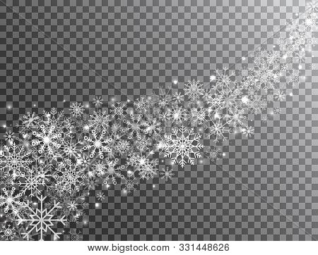 Snowflakes Border In Wave Shape On Transparent Background. Glitter White Snowflake And Snow. Magic S