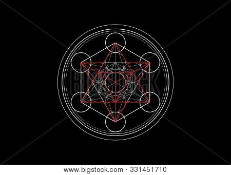 Metatrons Cube,  Flower Of Life.  Sacred Geometry, Graphic Element Vector Isolated Illustration Or B