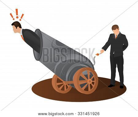 Concept Of Betrayal Of Business Partner. Afraid Man Preparing To Fly Shot From Weapon Cannon Gun. Cr