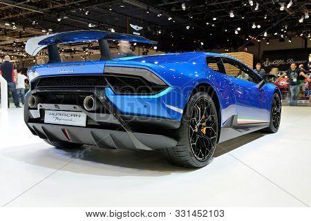 Dubai, Uae - November 17: The Lamborghini Huracan Performante Sportscar Is On Dubai Motor Show 2017