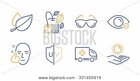 Uv Protection, Ambulance Emergency And Healthy Face Line Icons Set. Mint Bag, Eyeglasses And Mint Le