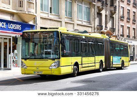 Reims, France - September 16, 2019: Articulated Urban Bus Irisbus Citelis 15m In The City Street.