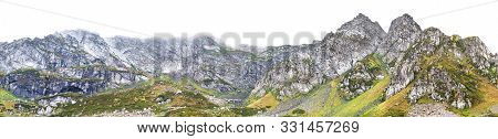 Landscape Panorama Of Top Mountains. Isolated Mountain Scenery On White Background. Panoramic View A