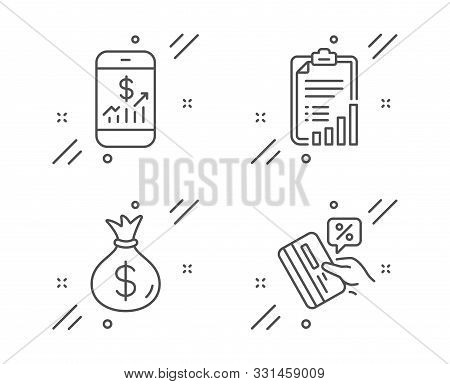 Money Bag, Mobile Finance And Checklist Line Icons Set. Credit Card Sign. Usd Currency, Phone Accoun