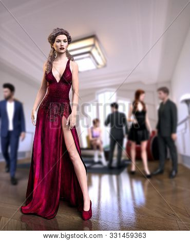 Beautiful Long Haired Woman In A Red Glamour Dress At A Party, 3d Render