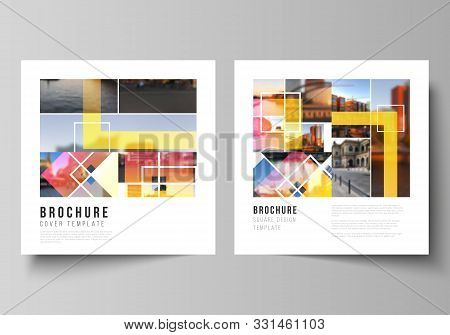 The Minimal Vector Illustration Of Editable Layout Of Two Square Format Covers Design Templates For
