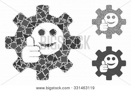 Service Gear Ok Smile Mosaic Of Bumpy Items In Different Sizes And Shades, Based On Service Gear Ok