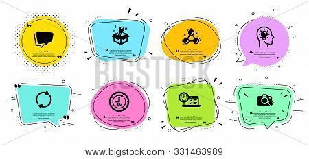 Idea Head, Speech Bubble And Photo Camera Line Icons Set. Chat Bubbles With Quotes. Chemistry Molecu
