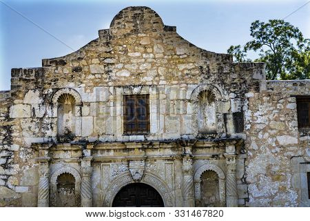 poster of Alamo Mission San Antonio Texas. Site 1836 battle between Texas patriots, such as Travis, Bowie, and Crockett, killed by Mexican army and Santa Anna.  Leading to rallying cry Remember the Alamo