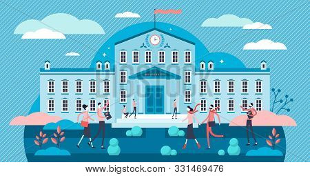 University Vector Illustration. Flat Tiny Academical Building Persons Concept. Daily Everyday School