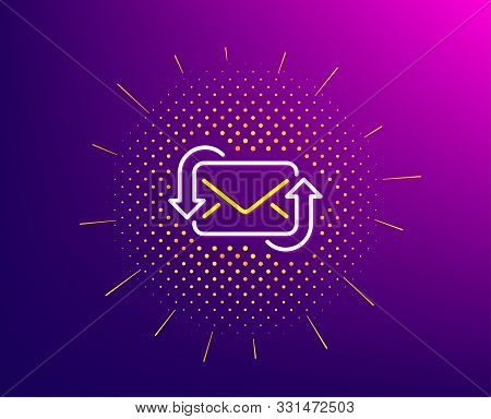 Refresh Mail Line Icon. Halftone Pattern. New Messages Correspondence Sign. E-mail Symbol. Gradient