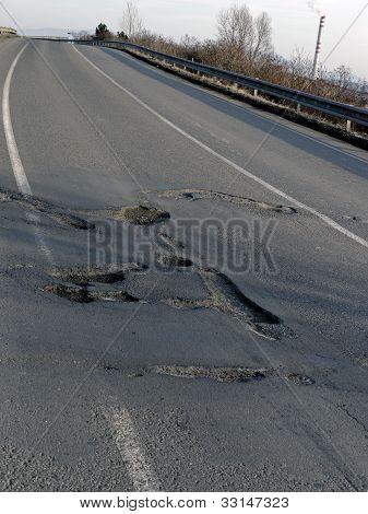 Gaten in een weg