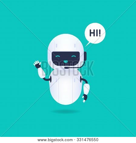 White Friendly Android Robot Say Hi. Cute And Smile Ai Robot.