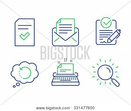 Typewriter, Mail Correspondence And Rfp Line Icons Set. Checked File, Recovery Data And Search Signs
