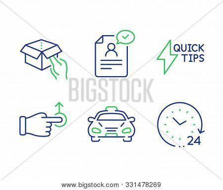 Quickstart Guide, Drag Drop And Resume Document Line Icons Set. Taxi, Hold Box And 24 Hours Signs. L