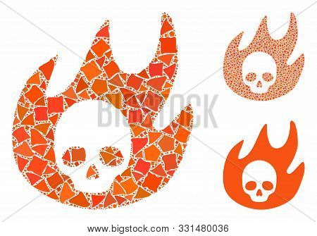 Hell Fire Composition Of Tuberous Parts In Various Sizes And Color Tinges, Based On Hell Fire Icon.