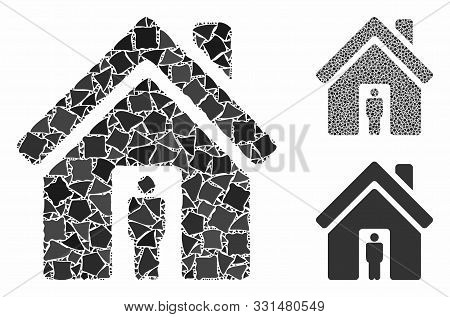 House Owner Mosaic Of Unequal Pieces In Variable Sizes And Color Tints, Based On House Owner Icon. V
