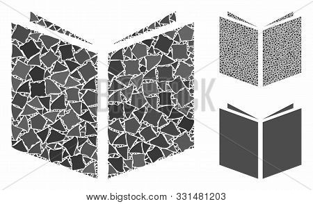 Book Mosaic Of Trembly Elements In Variable Sizes And Color Tints, Based On Book Icon. Vector Trembl