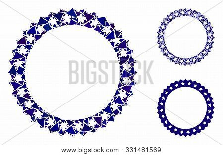 Starred Rosette Round Frame Composition Of Trembly Parts In Different Sizes And Color Hues, Based On