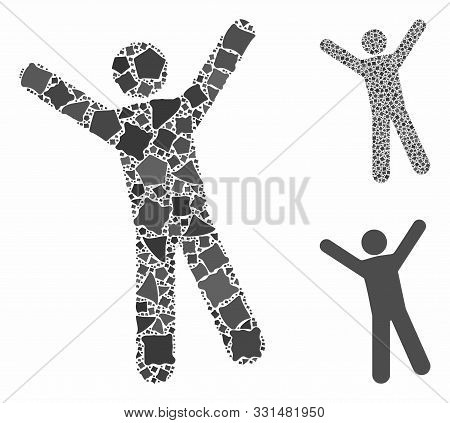 Man Joy Mosaic Of Tremulant Pieces In Different Sizes And Color Tints, Based On Man Joy Icon. Vector