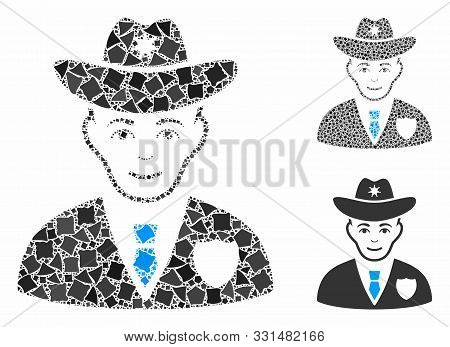 Sheriff Mosaic Of Rough Pieces In Variable Sizes And Color Tinges, Based On Sheriff Icon. Vector Rag