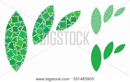 Flora Leaf Abstraction Composition Of Trembly Parts In Various Sizes And Color Hues, Based On Flora