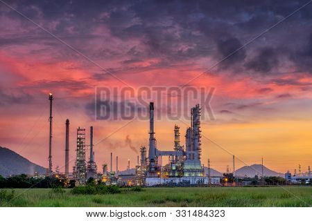 Landscape Of Oil Refinery Plant And Manufacturing Petrochemical Process Building, Industry Of Power