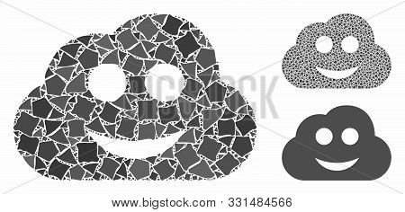 Glad Cloud Mosaic Of Ragged Elements In Various Sizes And Color Tones, Based On Glad Cloud Icon. Vec