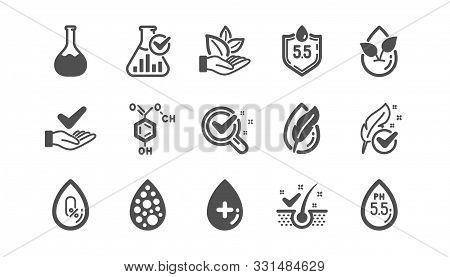 No Artificial Colors, Organic Leaf Icons. Dermatologically Tested, Paraben Chemical Formula Icons. H