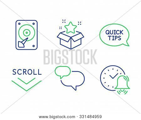 Scroll Down, Quickstart Guide And Hdd Line Icons Set. Chat Message, Loyalty Program And Alarm Bell S