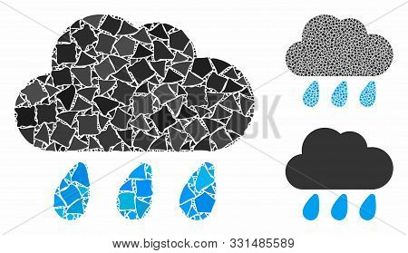 Rain Cloud Composition Of Trembly Pieces In Variable Sizes And Color Tints, Based On Rain Cloud Icon
