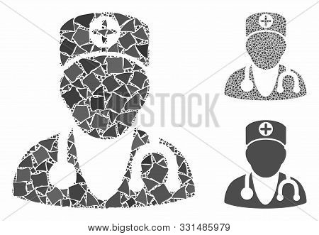 Physician Mosaic Of Joggly Pieces In Various Sizes And Color Tints, Based On Physician Icon. Vector