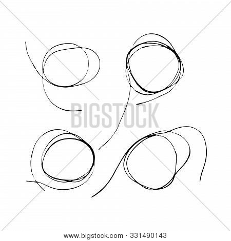Set Of Tangled Threads. Thread Circle Frames. Black Line Abstract Scrawl Sketch. Vector Chaotic Dood