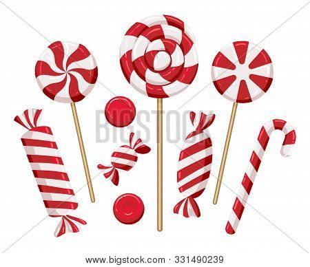 Christmas Candy Lollipops. Xmas Holiday Candies Isolated On Background, Colorful Lollipop Set For Ki