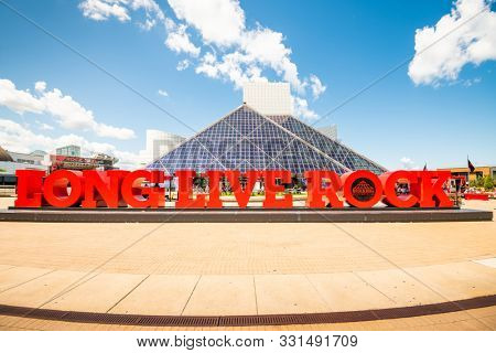 CLEVELAND, OHIO - AUGUST 9, 2019: Rock and Roll Hall of Fame entrance. The building was dedicated September 1, 1995.