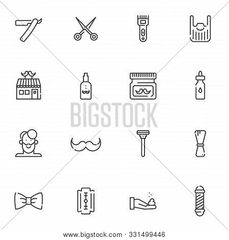 Barber Shop Line Icons Set. Linear Style Symbols Collection, Outline Signs Pack. Vector Graphics. Se