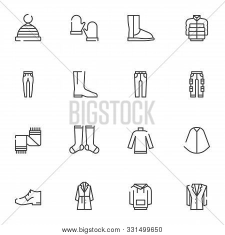 Winter Clothes Line Icons Set. Linear Style Symbols Collection, Outline Signs Pack. Vector Graphics.