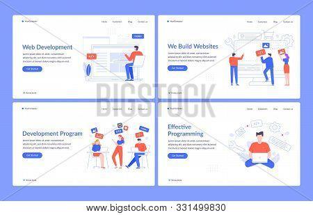 Web Development. Website Design, Code Engineering And Creative Interface Vector Landing Page Templat