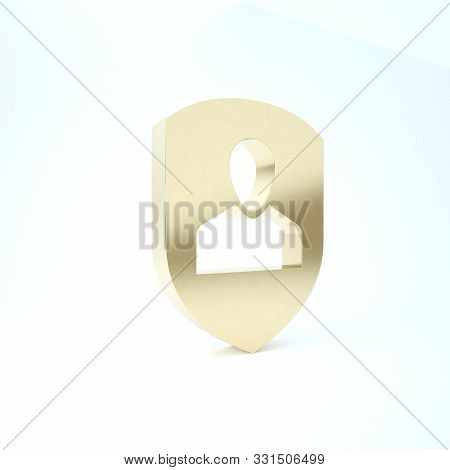 poster of Gold User protection icon isolated on white background. Secure user login, password protected, personal data protection, authentication icon. 3d illustration 3D render