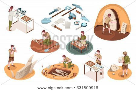 Set Of Isolated Icons For Archeology Job And Paleontology Profession. Isometric Signs With Archeolog