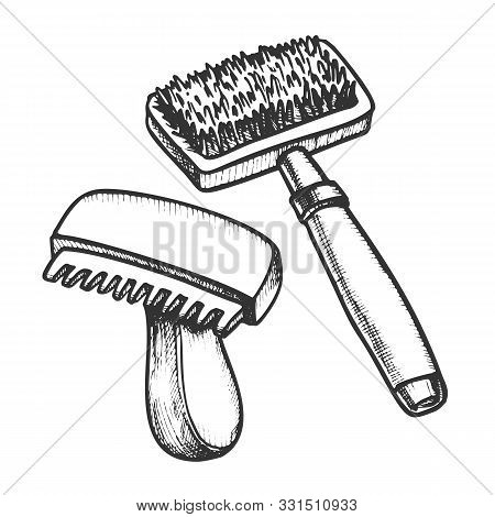 Animal Grooming Hair Brushes Monochrome Vector. Equipment For Grooming Cat And Dog. Pet Accessory An