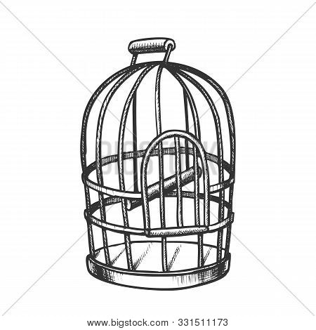 Birdcage For Domestic Parrot Monochrome Vector. Metallic Birdcage For Canary. Pet Shop Accessory Met