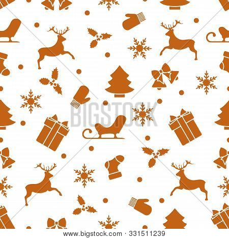 Merry Christmas Happy New Year 2020. Vector Seamless Pattern With Santa Claus Reindeer, Gifts, Bells