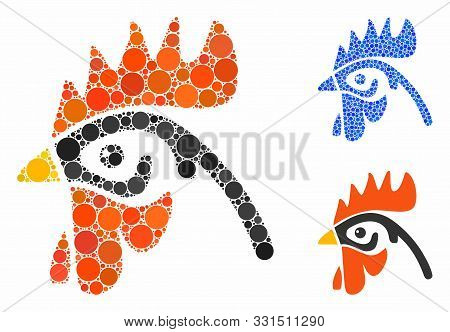Cock Head Composition Of Circle Elements In Different Sizes And Color Hues, Based On Cock Head Icon.