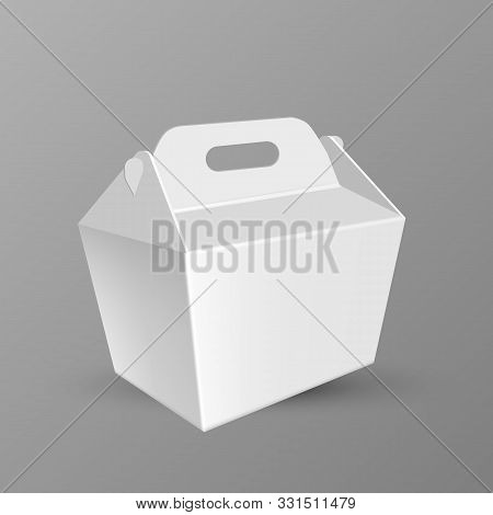 Handled Food Box For Transportation Dinner Vector. Blank Large Kraft Cardboard Carrypack Or Box For