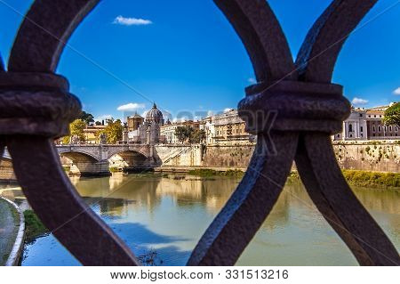 View Of St. Peter's Basilica From The Angel Bridge In Rome Lazio Italy